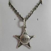 925 Silberne Halskette Brüniert Anhänger Stern Sheriff Cowboy Made in Italy - $99.87