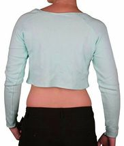 Young & Reckless Women's Mint Ice Green Love Cotton Fleece Crop Sweater NWT image 3