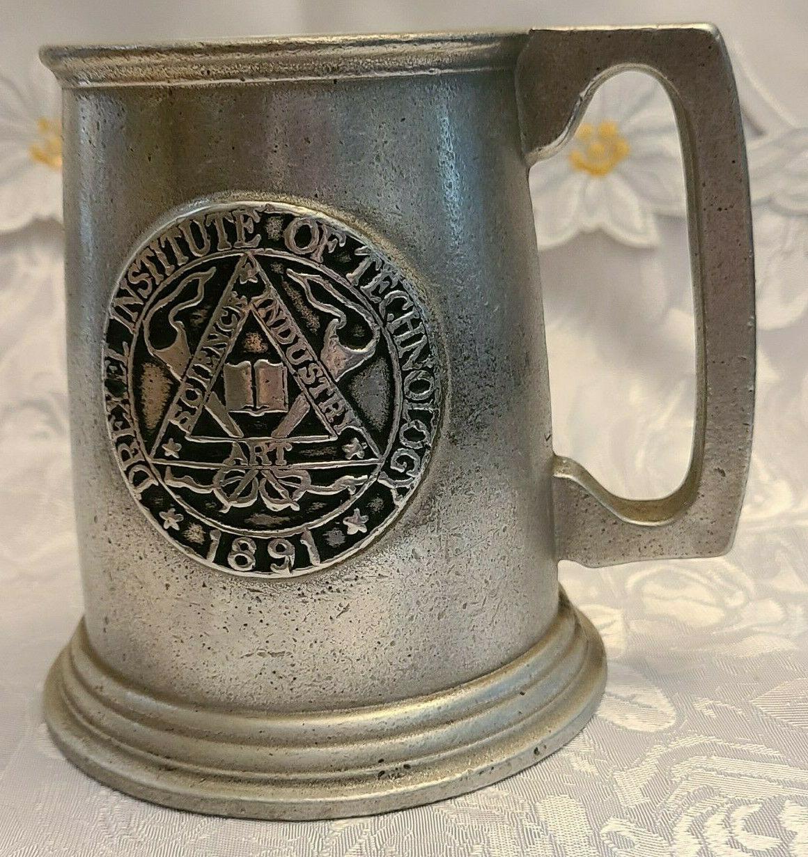 Vintage Drexel Institute of Technology Science Industry Art Pewter Mug 1891