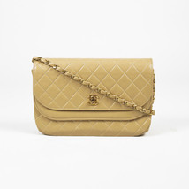 "Chanel Beige Quilted Leather Gold Tone Chain Link ""Double Flap"" Bag - $1,705.00"