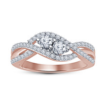 Womens Diamond Engagement Promise Ring 14k Rose Gold Finish 925 Sterling... - £57.27 GBP