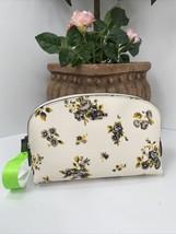 "New Coach Cosmetic Bag ""17  Prairie Print Floral Chalk  Leather Zip 59750 M8 - $78.39"