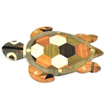 Northwoods Wooden Marquetry Sea Turtle Design Tile Figurine Sculpture Decor image 1