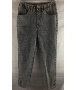 Jordache High Rise Black Stone Washed Jeans Size 11/12 Straight Legs Wit... - $23.71