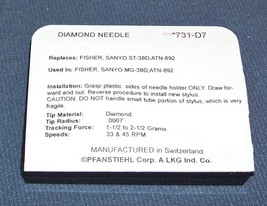 SANYO FISHER ST38D ST-38 MG-38 MG38D replacement 731-D7 PHONOGRAPH NEEDLE STYLUS image 2