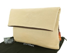 Authentic CHANEL Beige Canvas and Brown Leather... - $649.00