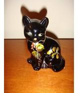 Fenton Lenox Hand Painted Black Cat - $38.99