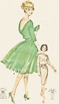 Butterick 9924 Cowl Neck Classic Cocktail Dress 1960s Vintage Sewing Pat... - $23.19