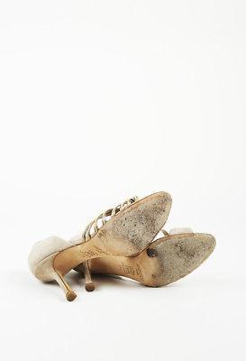 Jimmy Choo Brown Suede Heeled Sandals SZ 37.5
