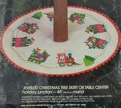 Bucilla Jeweled XMAS Tree Skirt Kit Train Holiday Junction Sequin Embroi... - $75.00