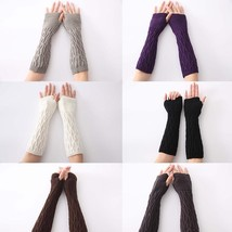 Women Gloves Knitted Long Cashmere Blend Solid Color Fashion Warm Elbow ... - $9.98