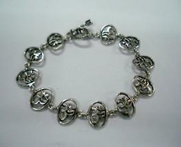 Traditional sterling silver bracelet cuff handmade jewellery om sign - $108.90