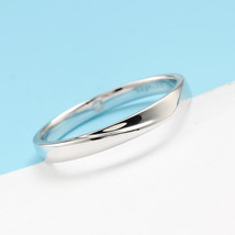 Minimalism 14K White Gold Men Engagement Wedding Ring Band Introverted Love image 4