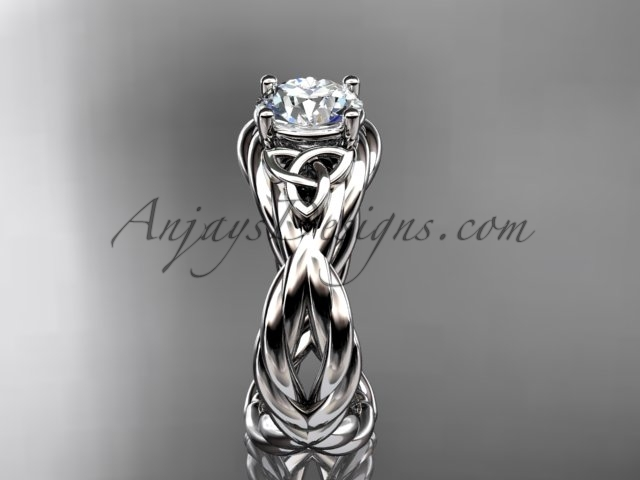 Celtic engagement ring, 14kt white gold celtic rope engagement ring RPCT9181