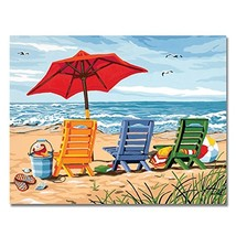 Rihe DIY Oil Painting Paint By Number Kit-Sunny Beach Chair 16x20 Inch F... - $15.84