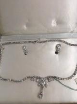 Vintage L G RHINESTONE Necklace Earrings Set Demi Parure LIND GAL NOS Ta... - $33.79