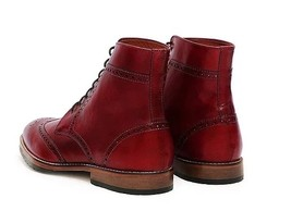 Handmade Men's Red Leather Wing Tip Brogues Style High Ankle Lace Up Boots image 3