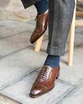 Handmade Men's Brown Leather Lace Up Dress/Formal Oxford Shoes image 3