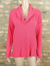 Anthropologie Splendid Pink Draped Cowl Neck Over-sized Thermal Knit Top M - $15.90