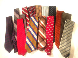 Lot of 15 Mens Tie For Craft, Quilt Projects DEFECT Minor Stain or Tear - $13.33