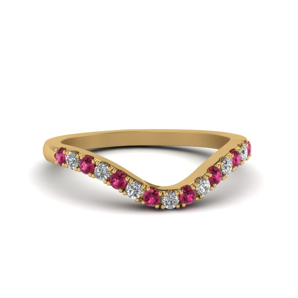 Primary image for Custom Pink Sapphire & CZ Diamond 14K Yellow Gold FN Curved Wedding Band Ring