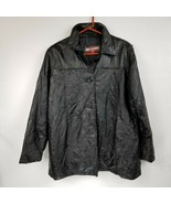 TUDOR COURT Black Leather Patchwork Effect Jacket Coat Size L Large Line... - £38.02 GBP