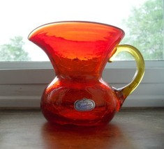 RAINBOW GLASS RED AMBERINA PITCHER AMBER HANDLE HAND BLOWN - $27.23