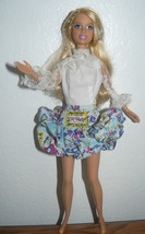 2005 Mattel Blond Bendable legs Barbie Doll in white & printed dress - $7.67