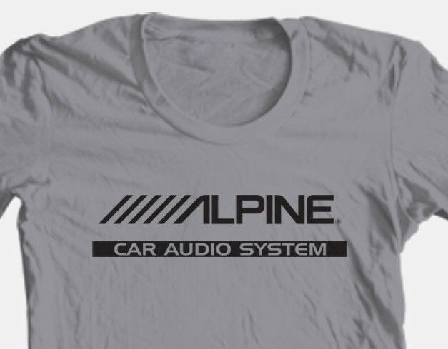 Alpine T-shirt Free Shipping car audio stereo auto speakers 100% cotton grey tee