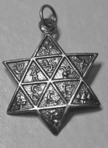 Jewish Star of David 12 Tribes of Israel charm real sterling silver .925... - $15.31