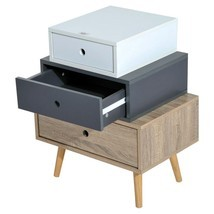 Wooden Beside Nightstand Table Mid Century Retro Bedroom Furniture 3 Dra... - £45.08 GBP
