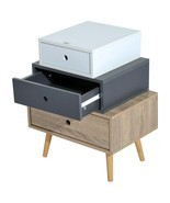 Wooden Beside Nightstand Table Mid Century Retro Bedroom Furniture 3 Dra... - €51,87 EUR