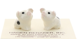 Hagen-Renaker Miniature Ceramic Pig Figurine Spotted Piglets Sitting Set of 2 image 1