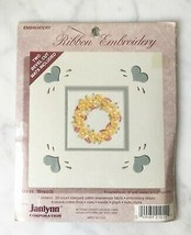 """Janlynn RIbbon Embroidery Floral Wreath Kit - 6"""" x 6"""" NEW Sealed Include... - $9.45"""