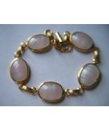 Vintage Sarah Coventry Rose Quartz Glass Cabochon Bracelet - $15.00