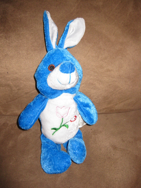 "Primary image for BLUE BUNNY w FLOWERS MINI Brand New Plush Stuffed Animal W TAGS 10"" BEANPALS"
