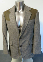 Mens Pendleton Wool Jacket Coat 40R USA Made Mens Vintage Leather 2 Butt... - $39.59