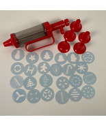 Cookie Press Red Plastic 24 Plastic Discs and 6 Nozzles in Box Holiday B... - $18.99
