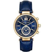 Michael Kors MK2425 Sawyer Ladies Chronograph Quartz Blue Leather MK Wri... - $144.90