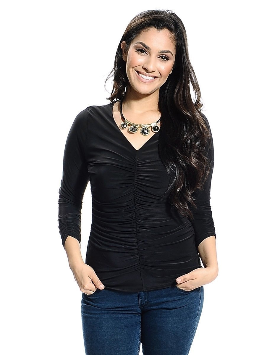 Plus size long sleeve black Top with statement necklace
