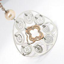 Collier Argent 925, Perles Rose, Médaillon Pendentif,Travaillé,Disque image 5