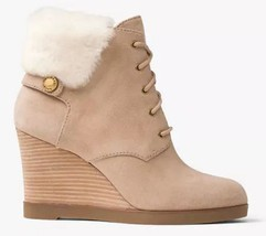 Women's Michael Kors CARRIGAN WEDGE Sheerling Furr  Ankle Boots Suede Da... - £99.44 GBP+