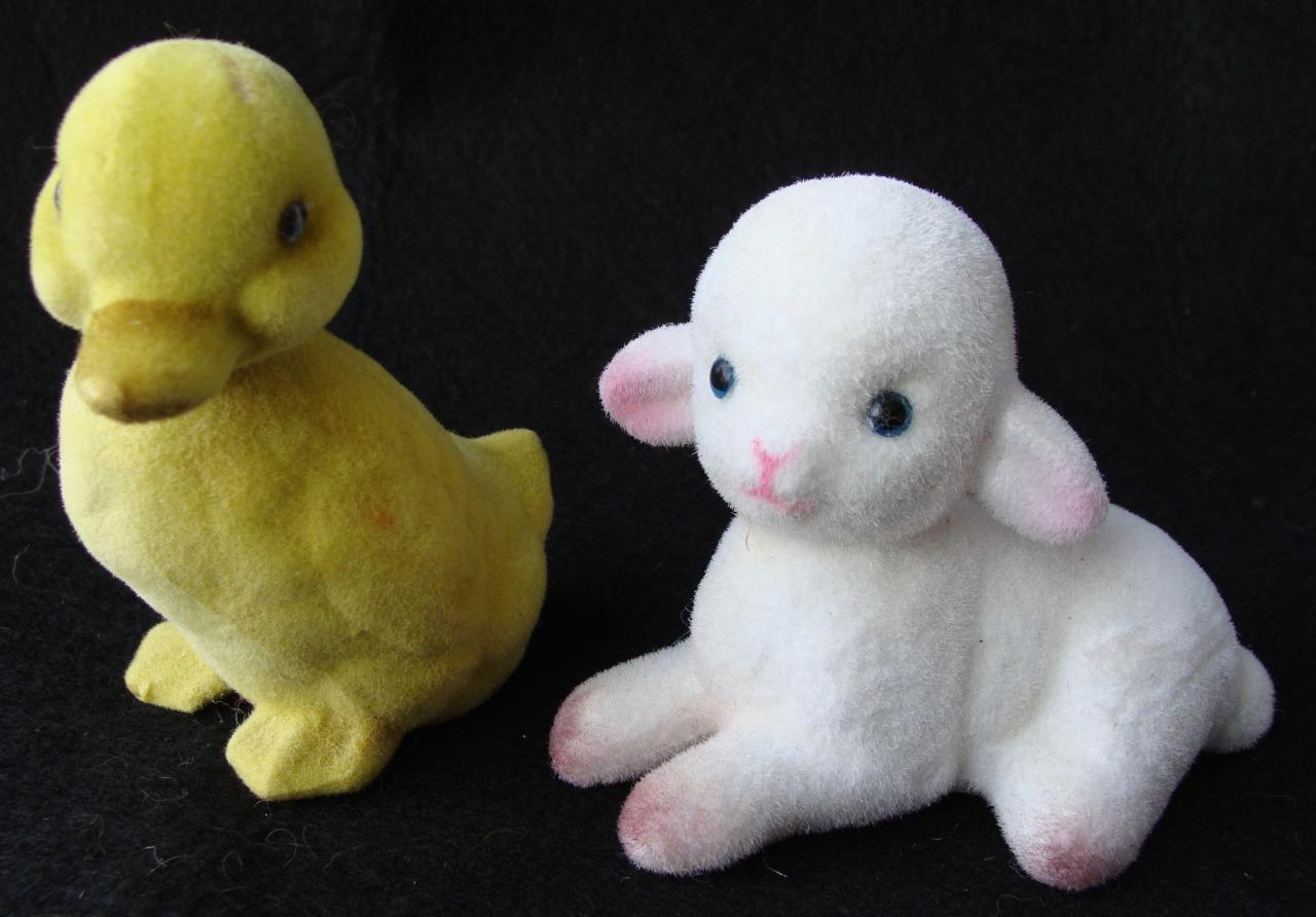 Vintage Easter Fuzzy Two Flocked Lamb and Duckling Hong Kong Sticker Cute
