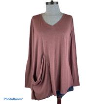 CHALET Lagenlook Slouch Pocket Long Sleeve Tunic Top Medium Artsy Boho U... - $32.99
