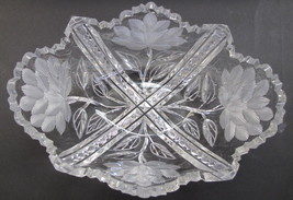 Signed Libbey American Brilliant Period hand Cut Glass oblong shape bowl ABP - $102.50