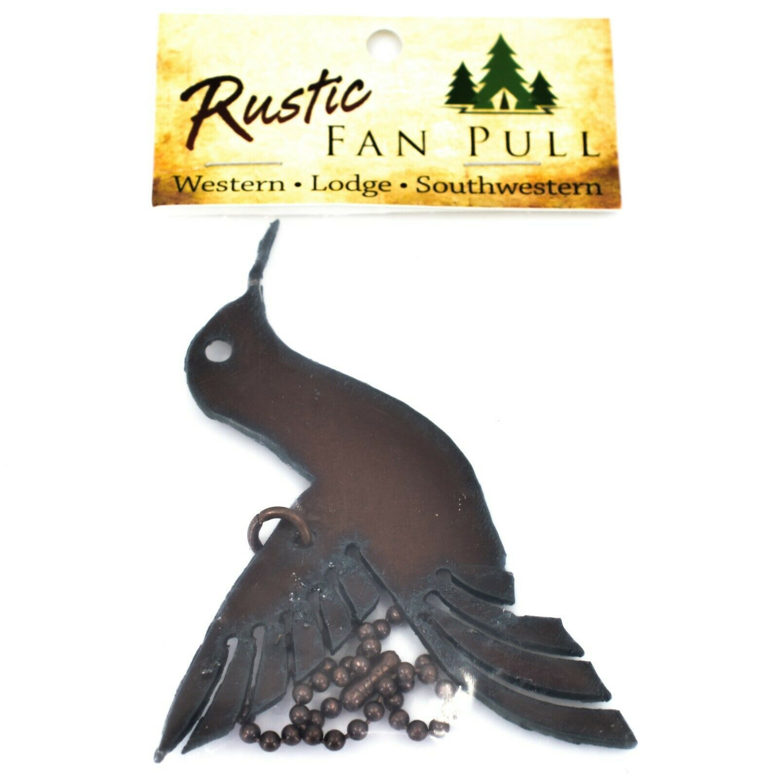 Country Western Rusted Patina Iron Metal Cutout Hummingbird Light Pull Chain