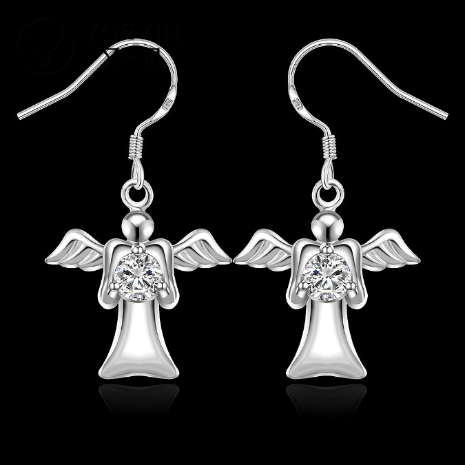 Primary image for Angel Dangle Earrings with Crystal 925 Sterling Silver NEW