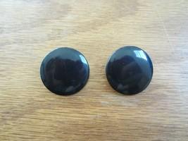 Vintage Button Acrylic Plastic Flat Black Enamel Clip-on Earrings - $14.50