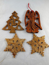 Laser Cut Wooden Wood Christmas Ornaments Beautiful wood Angel tree snow... - $19.79