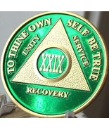 29 Year AA Medallion Green Gold Plated Alcoholics Anonymous Sobriety Chip Coin  - $20.39